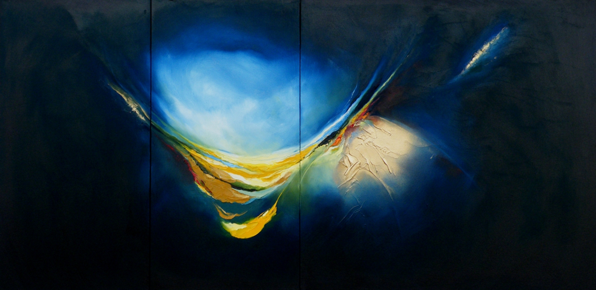 Awakenings Reloaded - with Yellow -Triptych-Oil on Canvas.  183cm X 91cm