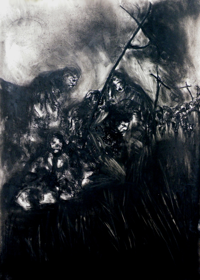 Pilgrims - Kneel and Pray Conte on Card 63 X 89 cm